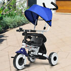 4 in 1 Kids Baby Tricycle Stroller Foldable Learning Bike Toy Detachable Awning