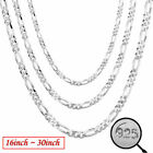16-30 Inch 925 Sterling Silver Solid Fashion 2mm Chain Men Necklace Bracelet