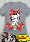 Betty Boop Floral Ladies T-Shirt Sport Grey Cotton T-Shirt Size S-3XL $16.99 USD on eBay