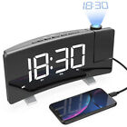 ELECTRIC LED PROJECTION ALARM CLOCK FM Radio TIMER Curved-Screen Dual USB