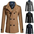 Mens Woolen Blend Trench Coat Reefer Jacket Double breasted Peacoat Stand Collar