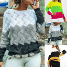 Femme Grand Taille Patchwork Pulls Casual Manches Longues Tricoté Hauts Knitwear