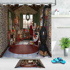 Santa Claus Prepares Gifts In Stone Room Christmas Decor Shower Curtain Hooks