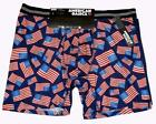 2 American Basics American Flags & Solid Blue Performance Boxer Briefs Men's NWT