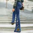 Women Embroidered Bell Bottom Flares Jeans Slim Pant High Rise Waist Trousers