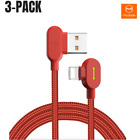 Mcdodo 3 Pack 6Ft 90 Degree Right Angle Lightning Cable Apple iPhone USB Charger