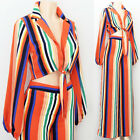 NEW Multi Striped Tie Front Crop Top  Wide Leg High Waist Pants Co-Ord 2pc Set