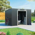 Metal Shed Garden Storage - Cargo Pent Galvanised Outdoor Heavy-Duty Steel Shed