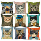 Creative Cat Square Pillow Case Cushion Cover Linen Home Kids Room Decor Code