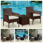 3x Rattan Wicker Chairs W/ Table Outdoor Garden Patio Porch Furniture 2 Colors