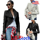Women's Large Lapel Punk Biker Steampunk Motorcycle Slim Coat Jacket Outwear Top