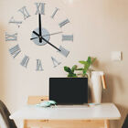 DIY 3D Wall Clock Roman Numeral Metallic Stick On Clock Home Art Decor Rt0