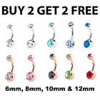 Double Gem Surgical Steel Belly Bars Navel Button Bar Body Piercing Jewellery