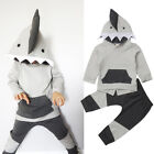 US Stock Kids Toddler Girl Boy Shark Hooded Tops Coat Pants Outfit Clothes 6M-4T