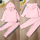 2PCS Toddler Baby Girl Hoodie Tops+Stripe Pants Outfits Tracksuit Autumn Clothes