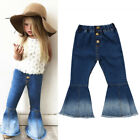 Fashion Toddler Kids Baby Girls Bell Bottoms Pants Denim Wide Leg Jeans Trousers