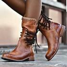 Punk Women Ladies Cuban Heel Lace Up Ankle Boots Vintage Round Toe Pull On Shoes