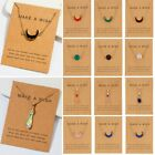 Natural Stone Moon Waterdrop Pendant Necklace Choker Chain Card Women Jewelry image