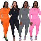 New Fashion Women's Solid Color O Neck Long Sleeves Sporty Slim Long Pants Set