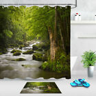 Tropical Rainforest Shower Curtain Stream Flowing In Forest Mossy Rocks Bath Mat