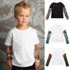 Fashion Children Boys T Shirt with Mesh Tattoo Printed Sleeve Tee Tops Blouse