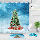 Christmas Tree With Xmas Bells Gifts In The Snow Shower Curtain Hooks Bath Mat