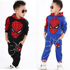 2Pcs Set Kids Boys Spiderman Shirts Hooded Top + Pants Outfits Clothes Tracksuit