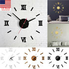 Modern Large Wall Clock 3D Mirror Sticker Unique Big Number Watch DIY Decor NEW~