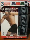 3 Pair Dunlop Performance Boxer Briefs / Blue Red Green / Choose Size S M or L