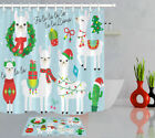 Christmas Holiday Alpaca Cactus In Santa Hat Sweater Shower Curtain Bathroom Mat