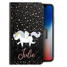 Unicorn Initial Phone Case, Personalised Pink Name Marble PU Leather Flip Cover
