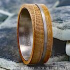 8mm Whiskey Barrel Wood w/ Offset Brushed Mens Tungsten Stripe Wedding Band Ring