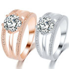 Elegant Women Rhinestone Inlaid Multi-layer Finger Ring Wedding Jewelry Code