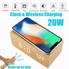 20W Qi Alarm Wireless Charger Clock Digital LED Desk Thermometer For iPhone 11