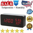 Wooden USB Digital Alarm Clock LED Display With Temperature Humidity Dimmer Loud