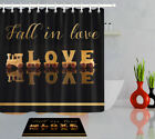 Valentine's Day Golden Fall In Love Wood Train Shower Curtain Hooks Bathroom Mat