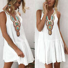 Womens Holiday Beach Bikini Cover Up Boho Summer Baggy Mini Short Dress Swimsuit