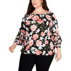 INC Womens Floral Print Tiered Blouse Peasant Top Shirt Plus BHFO 1217