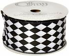 "2-1/2"" Wired Black & White Court Jester - Harlequin Diamond Ribbon"