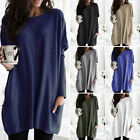 S-5XL Women Loose Solid Pocket T-shirt Dress Long Sleeve O-neck Tunic Blouse Top