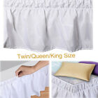 White Side Wrap Around Bed Skirts Elastic Dust Ruffles Twin Queen King Size image