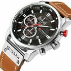 Curren Army Mens Leather Military Chronograph Date Quartz Waterproof Wrist Watch
