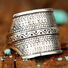 Aztec Statement Wrap Ring Sterling Silver Engraved Chunky Boho Bohemian Square