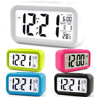 Operated Digital Snooze Smart Square Alarm Clock LCD Calendar Display Home Desk