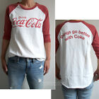 Junk Food Coca Cola Color Block 3/4 Sleeve Raglan Destroyed Finish t-shirt NEW $48.83  on eBay