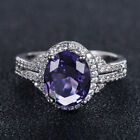 Charm Oval Cut Amethyst 925 Silver Rings Wedding Party For Women Rings Size 6-10
