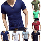 Men Gym Tight Tops T-Shirt Short Sleeve Slim Fit V-Neck Casual Fitness M-2XL Us image