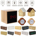 Wooden Alarm Clock Wood USB/AAA Batteries Power Digital LED Thermometer Humidity