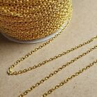 Gold Plated Loose Cable Jewellery Making Chain 1m 2m 5 Metre 2x3mm Links Diy