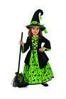 Green Black Cats Bats Printed Witch Girls Halloween Costume